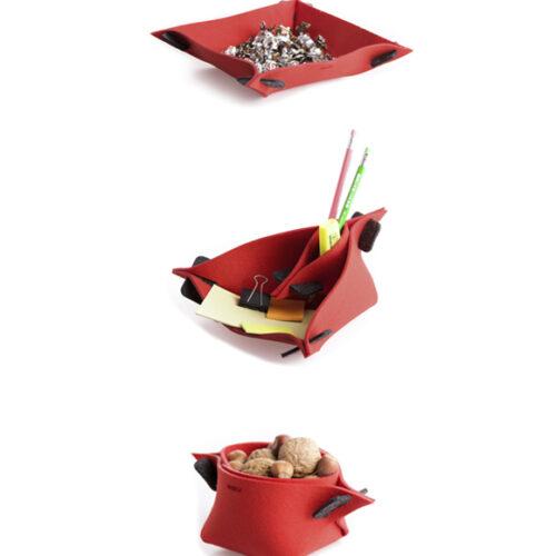 WEEW-design-sostenibile-contenitore-portaoggetti-feltro-riciclato-idea-per-casa-e-ufficio-LOTUS rosso 2