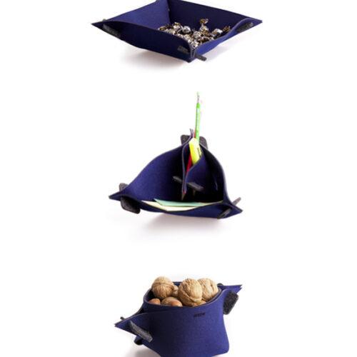 WEEW-design-sostenibile-idee-regalo-ecologiche-portaoggetti-trasformabile-feltro-riciclato-arredo-casa-e-ufficio-LOTUS blu 2
