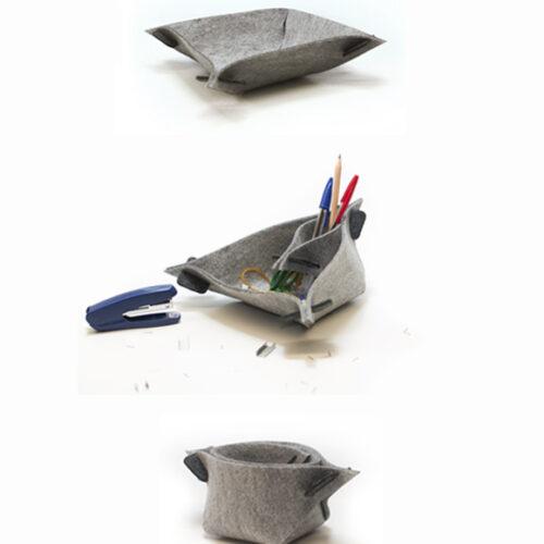 WEEW-design-sostenibile-idee-regalo-ecologiche-portaoggetti-trasformabile-feltro-riciclato-arredo-casa-e-ufficio-LOTUS grigio 1