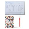 Tutto il necessario per inizare il nuovo anno.  Un planner, una penna con inchiostro gel spessore 0,5mm e l'immancabile Agenda settimanale 2021